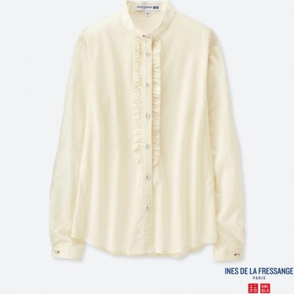 d06e36cf9893 NWT uniqlo IDLF Cotton Lawn Frill Shirt